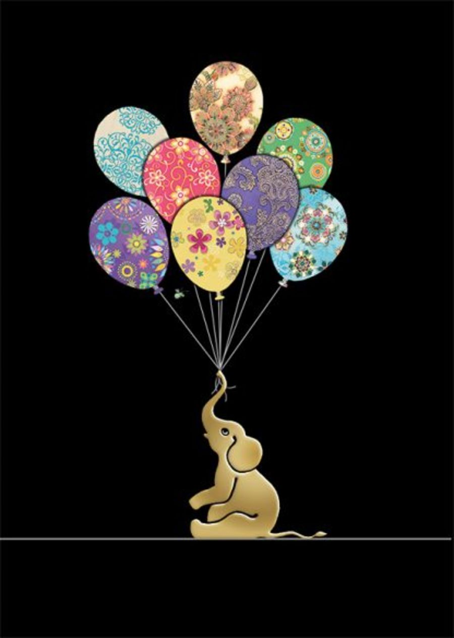 Elephant Balloons Card by Bug Art