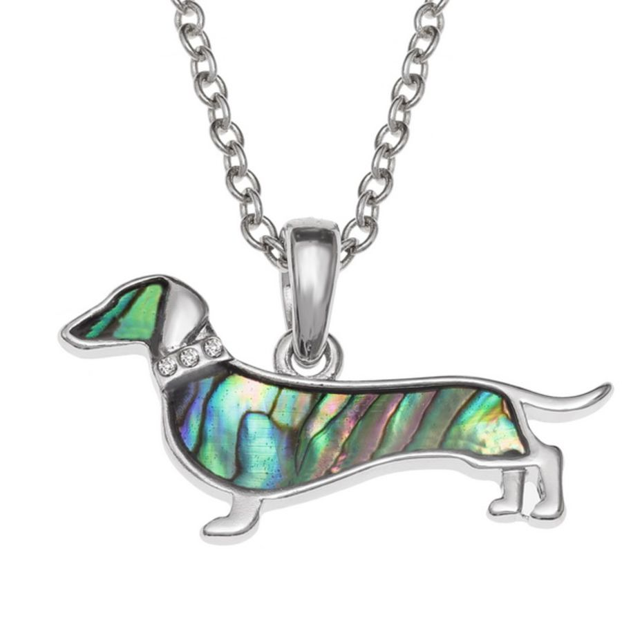 Paua shell Dachshund dog with glass stone collar Pendant