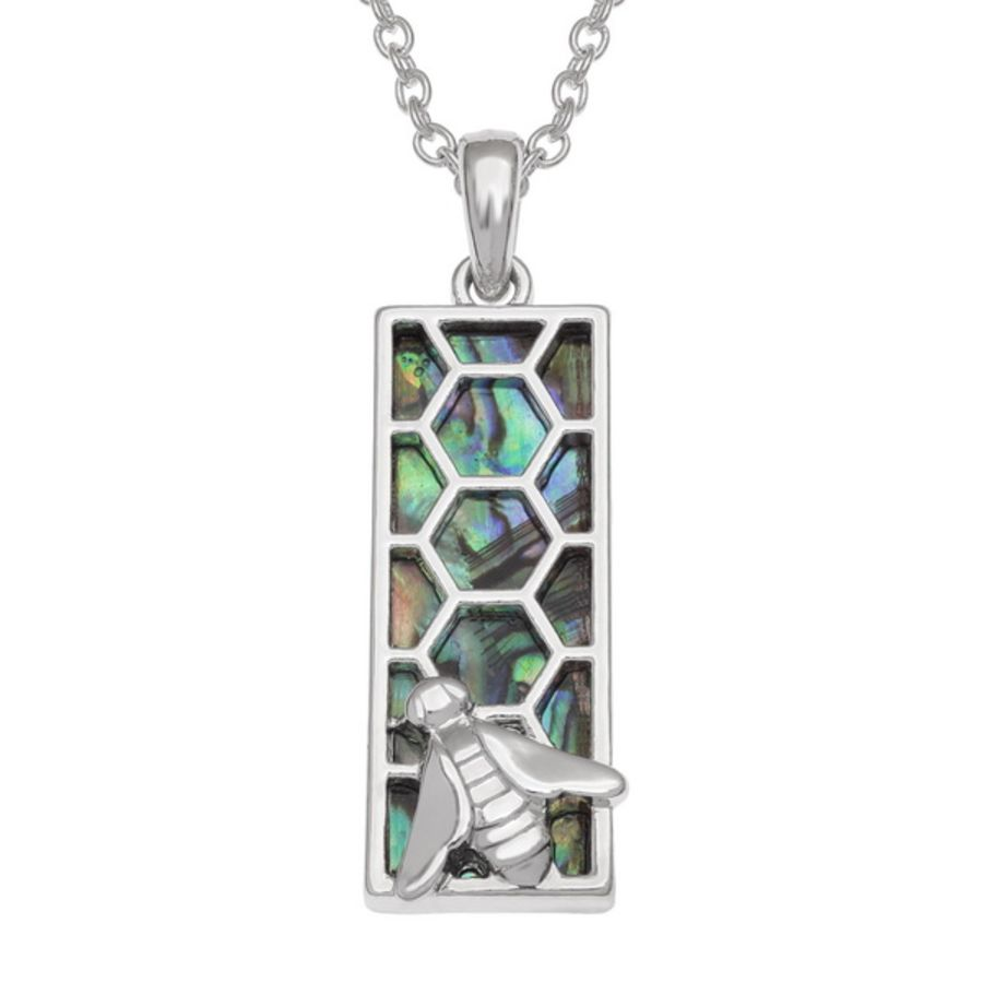 Tide Jewellery inlaid Paua shell rectangular Honeycomb Bee Pendant