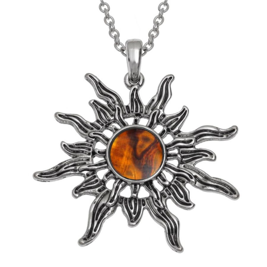 Tide Jewellery inlaid orange Paua shell Sunburst Pendant