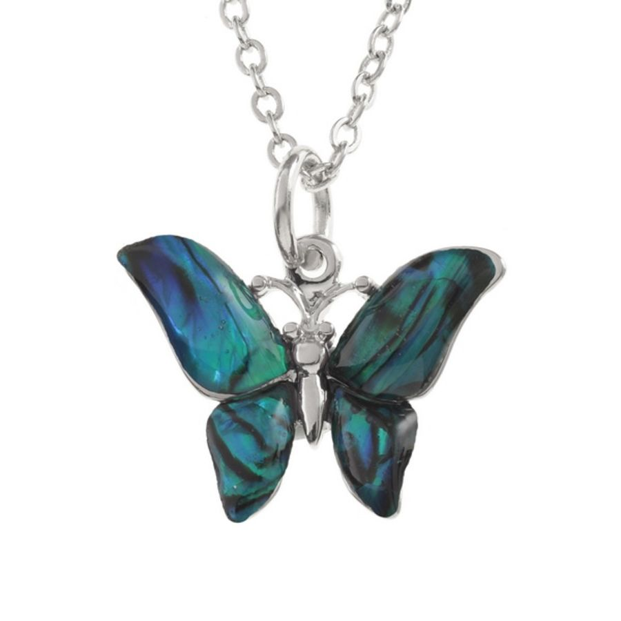 Tide Jewellery inlaid blue Paua shell small butterfly Pendant