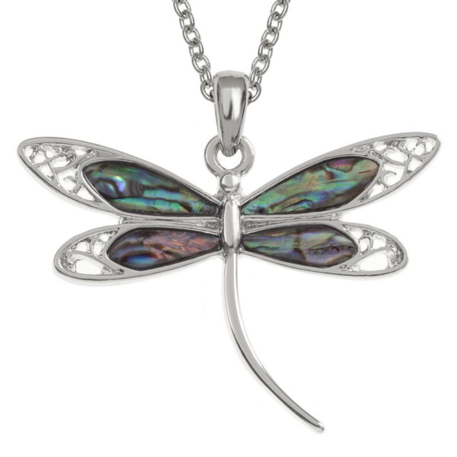 Tide Jewellery inlaid Paua shell dragonfly Pendant
