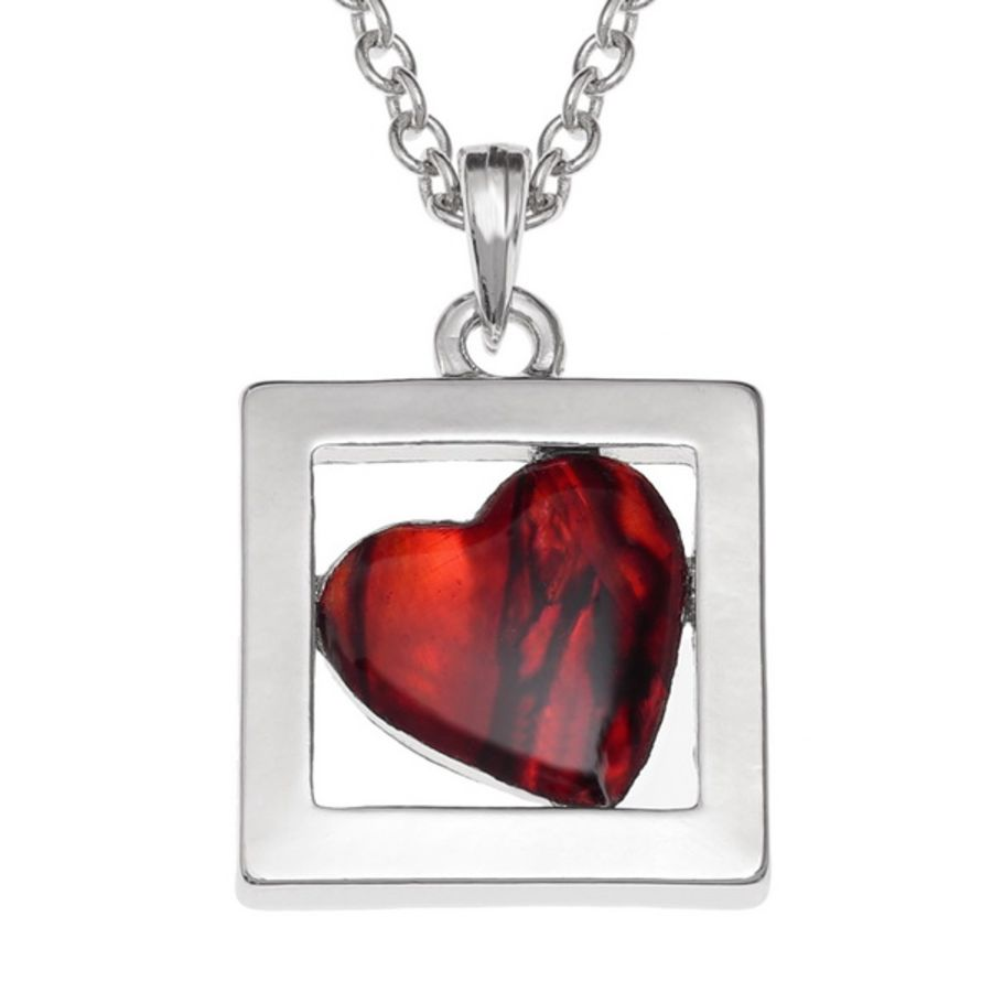 Tide Jewellery inlaid red Paua shell boxed Heart Pendant