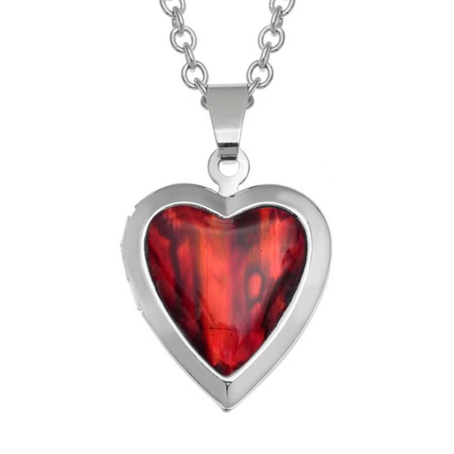 Tide Jewellery inlaid red Paua shell Heart locket Pendant