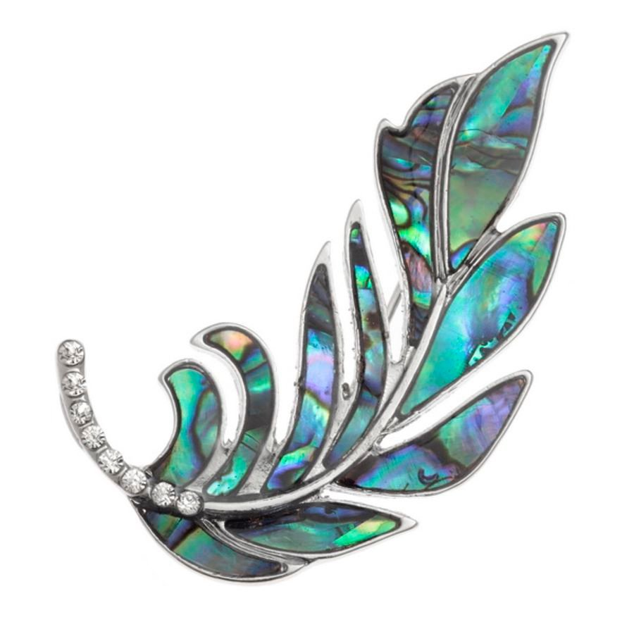 Tide Jewellery inlaid Paua shell Feather brooch with inset glass stones