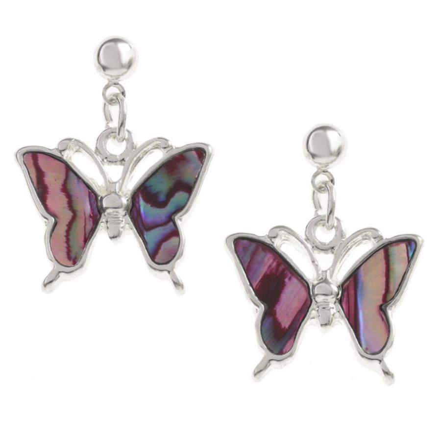 Tide Jewellery inlaid pink Paua shell Butterfly drop stud earrings.