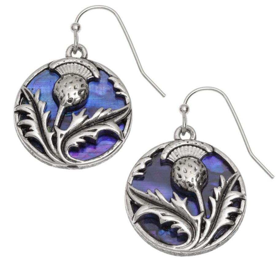 Tide Jewellery inlaid purple Paua shell Thistle hook earrings