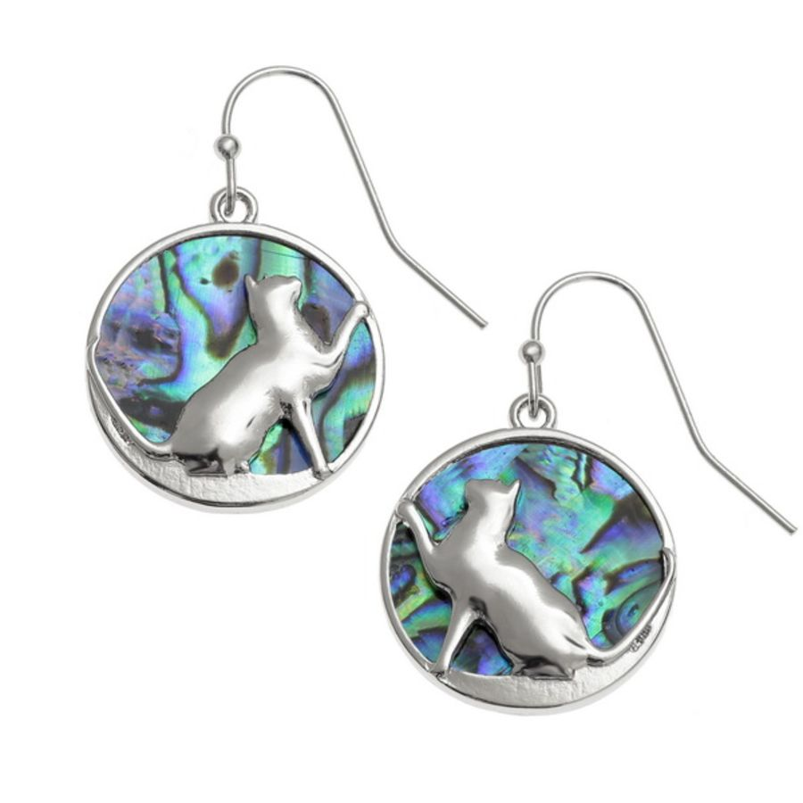 Tide Jewellery inlaid Paua shell Playful Cat hook earrings,