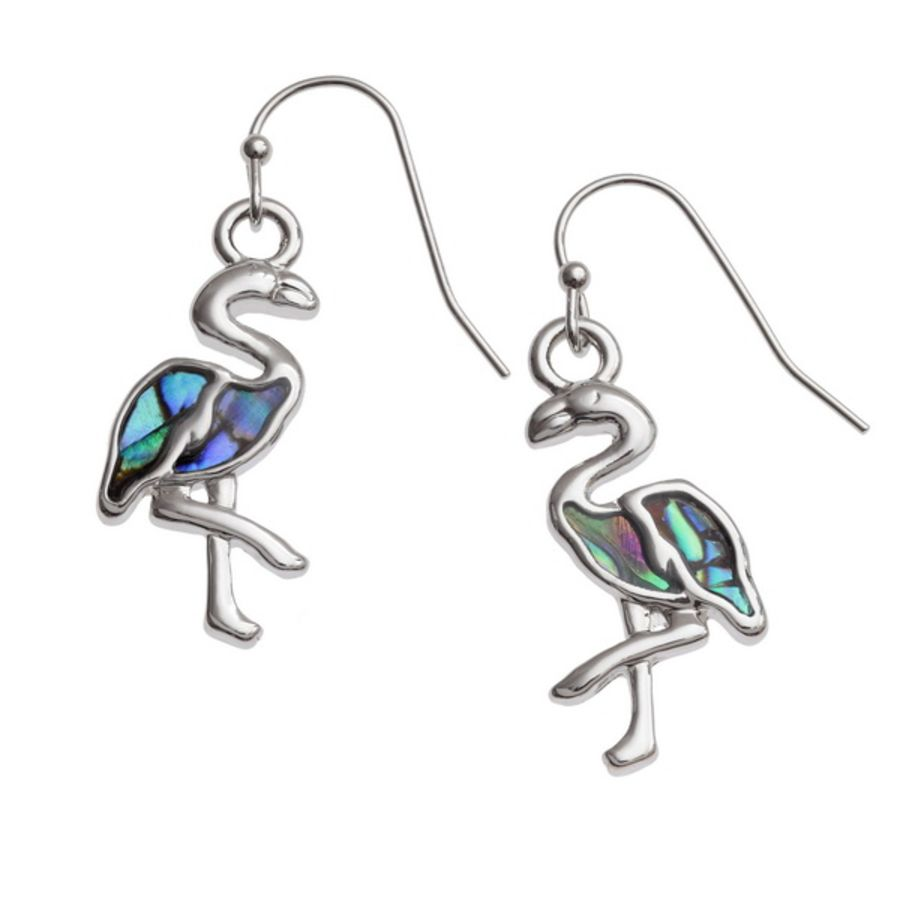 Tide Jewellery inlaid Paua shell Flamingo hook earrings.