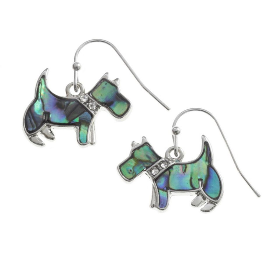 Tide Jewellery inlaid Paua shell Scottie dog hook earrings