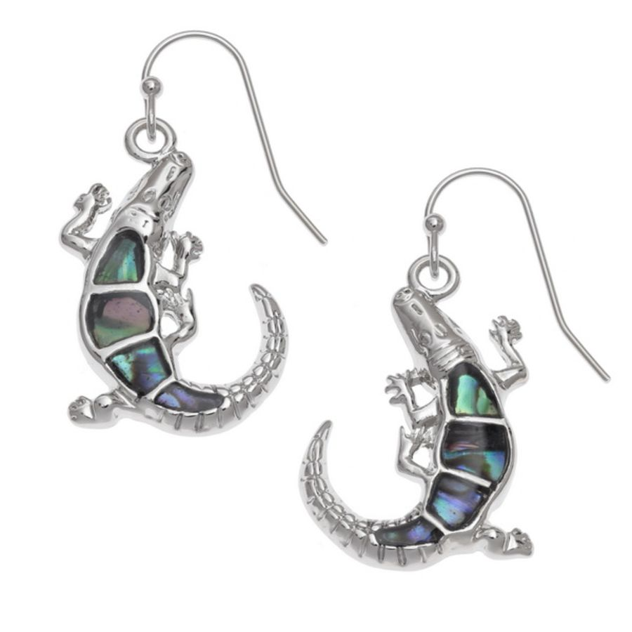 Tide Jewellery inlaid Paua shell Alligator hook earrings.