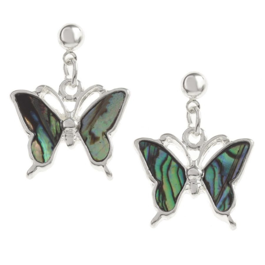Tide Jewellery inlaid Paua shell butterfly drop stud earrings.