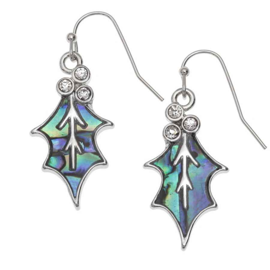Tide Jewellery inlaid Paua shell Holly leaf hook earrings with inset clear stones.