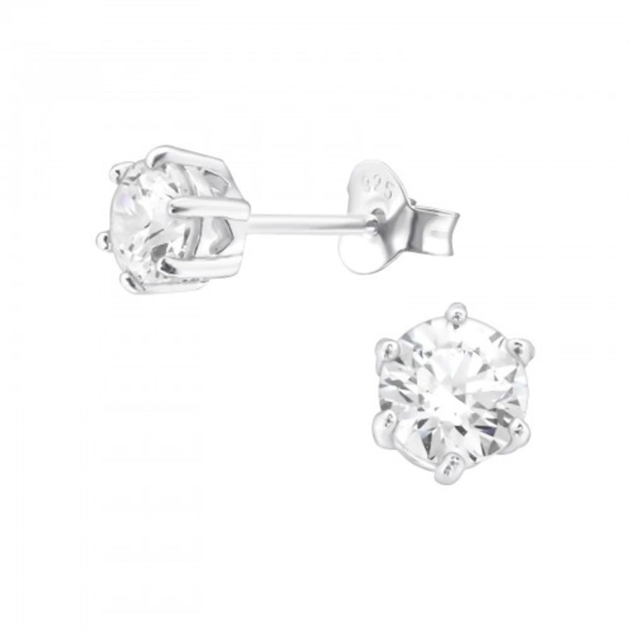 925 Sterling Silver Cubic Zirconia Round Earrings