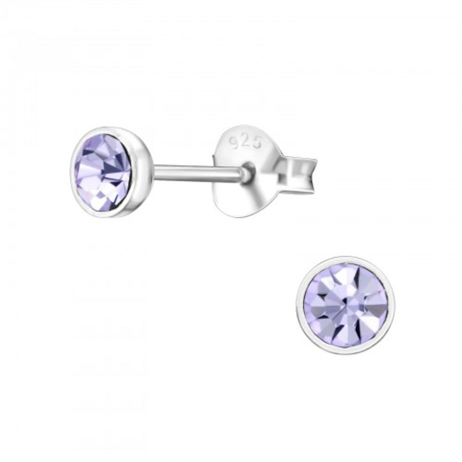 925 Sterling Silver Violet Small Round Earrings