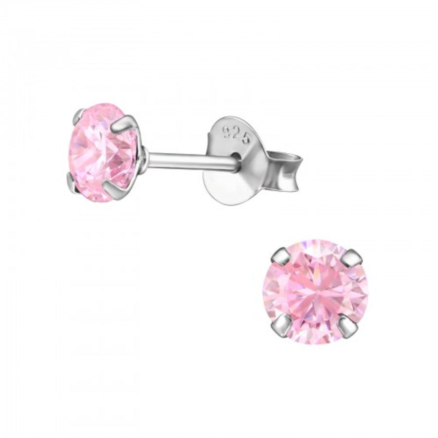 925 Sterling Silver Pink Cubic Zirconia Round Earrings
