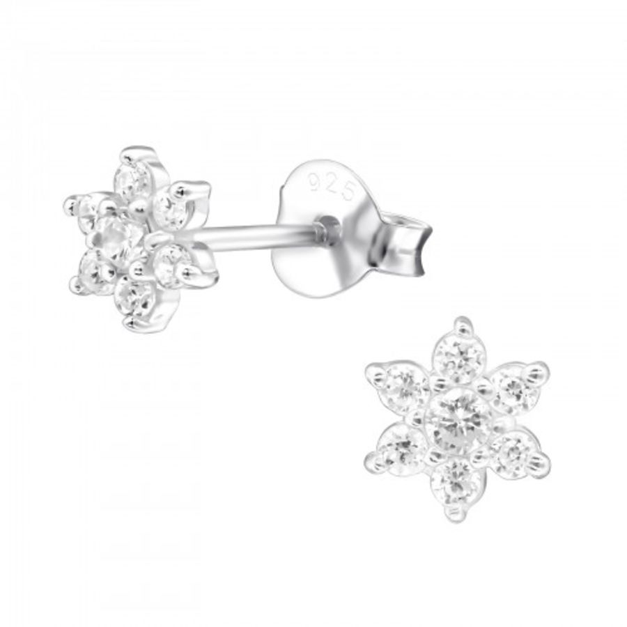 925 Sterling Floral Design Silver Cubic Zirconia Earrings