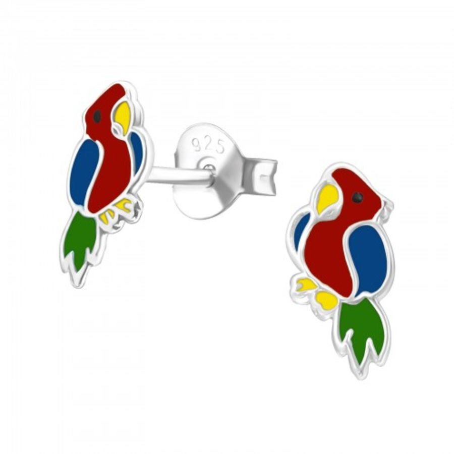 925 Sterling Small Silver Parrot Earrings