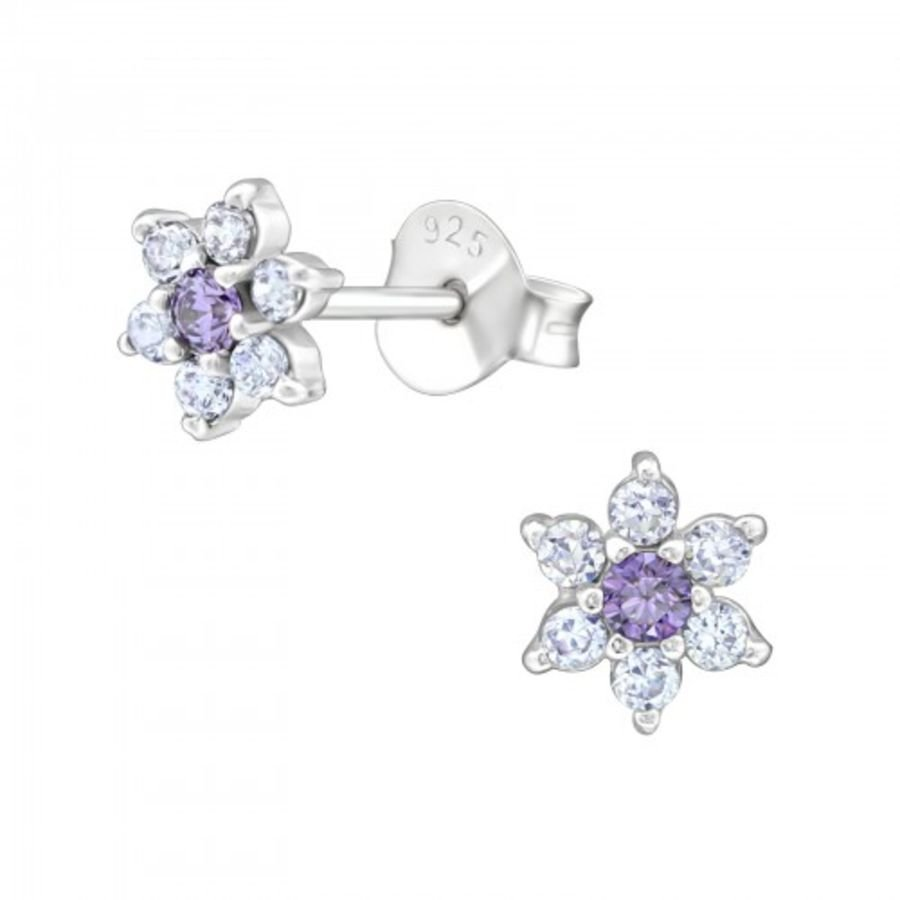 925 Sterling Silver Floral Design Cubic Zirconia Earrings
