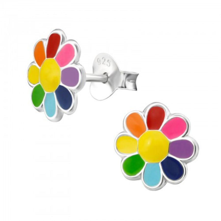 925 Sterling Silver Rainbow Colours Floral Earrings