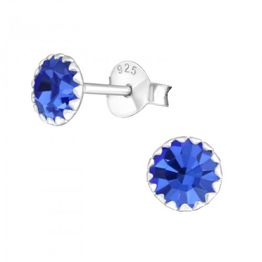 925 Sterling Silver Small Blue Round Earrings