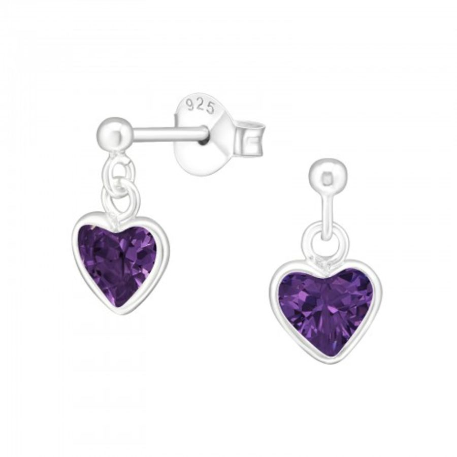 925 Sterling Silver Purple Cubic Zirconia Heart Earrings