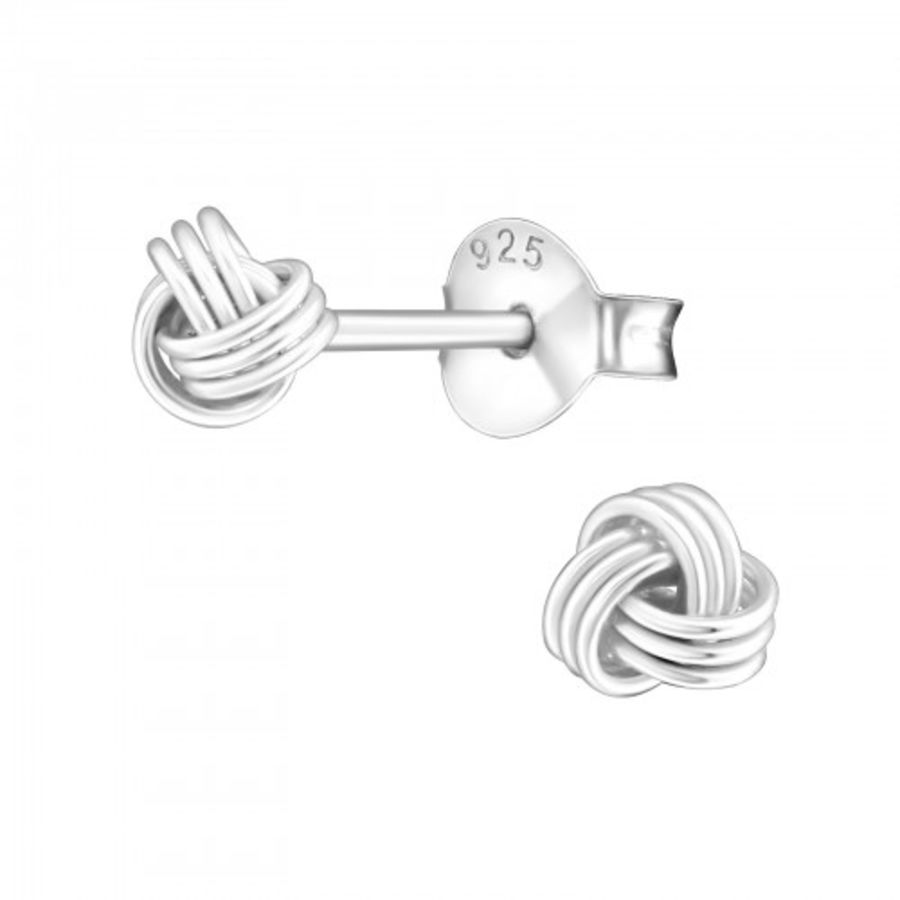 925 Sterling Silver Very Small Knot Earrings