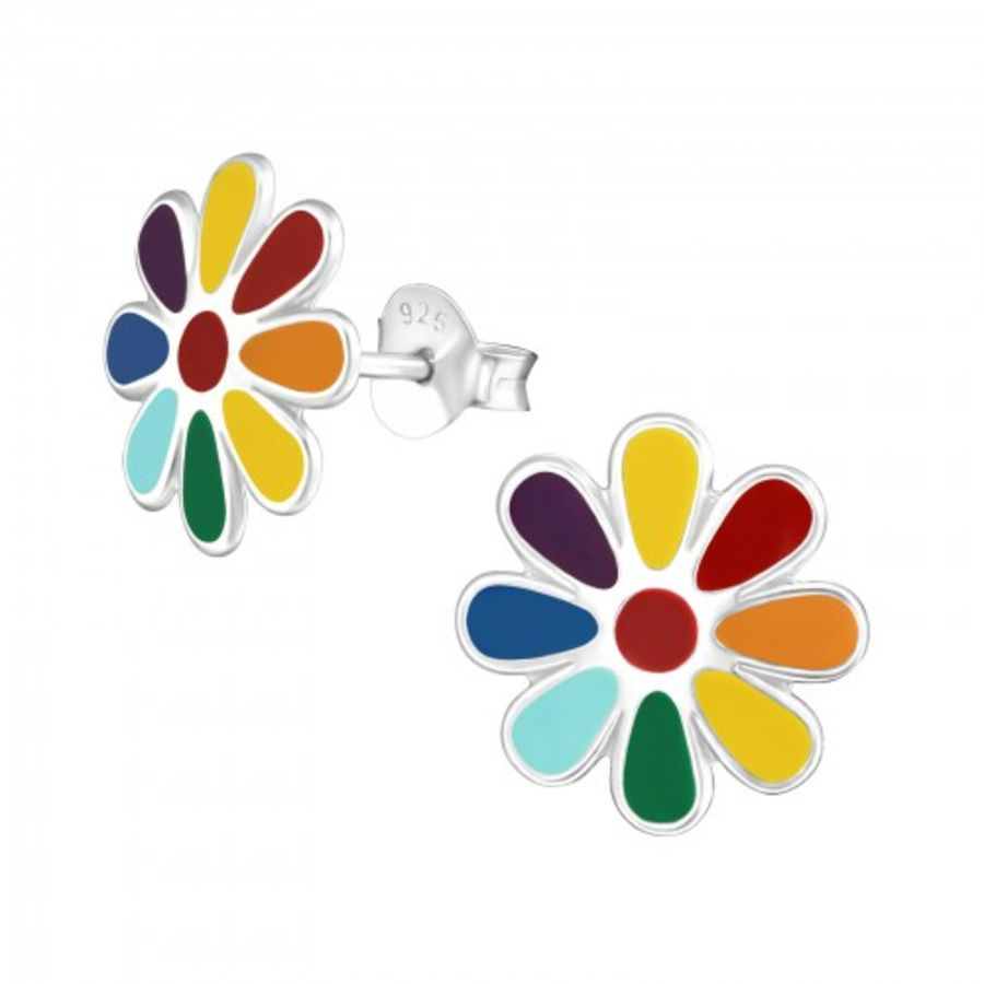 925 Sterling Silver colourful Flower Design Earrings