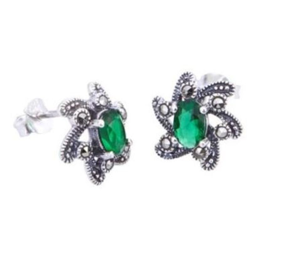 925 Silver Green CZ and Marcasite Stud Earrings