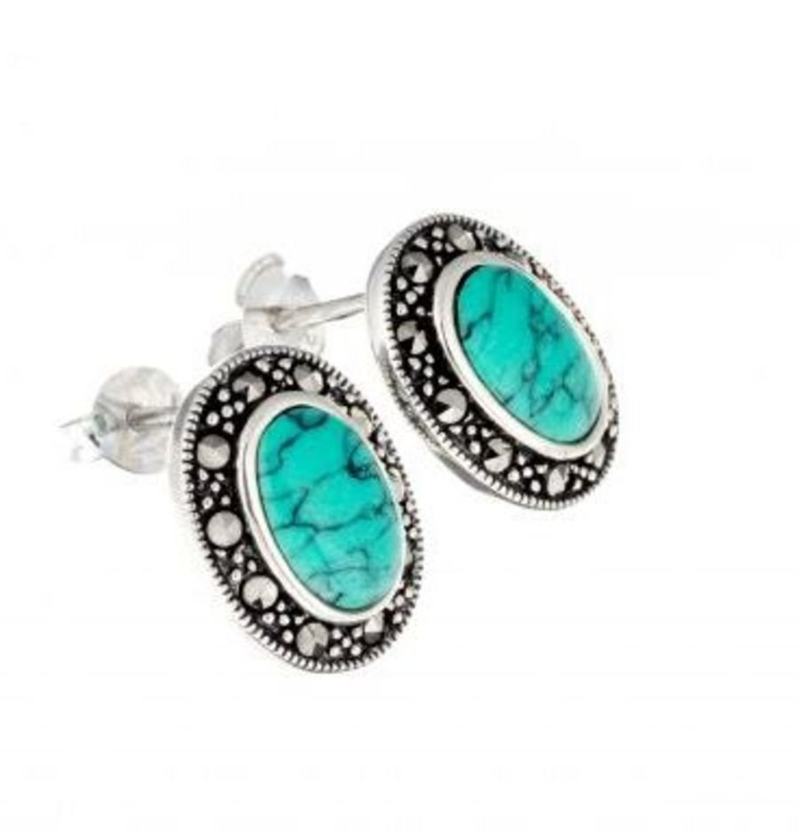 925 Silver Faux Turquoise & Marcasite Stud Earrings