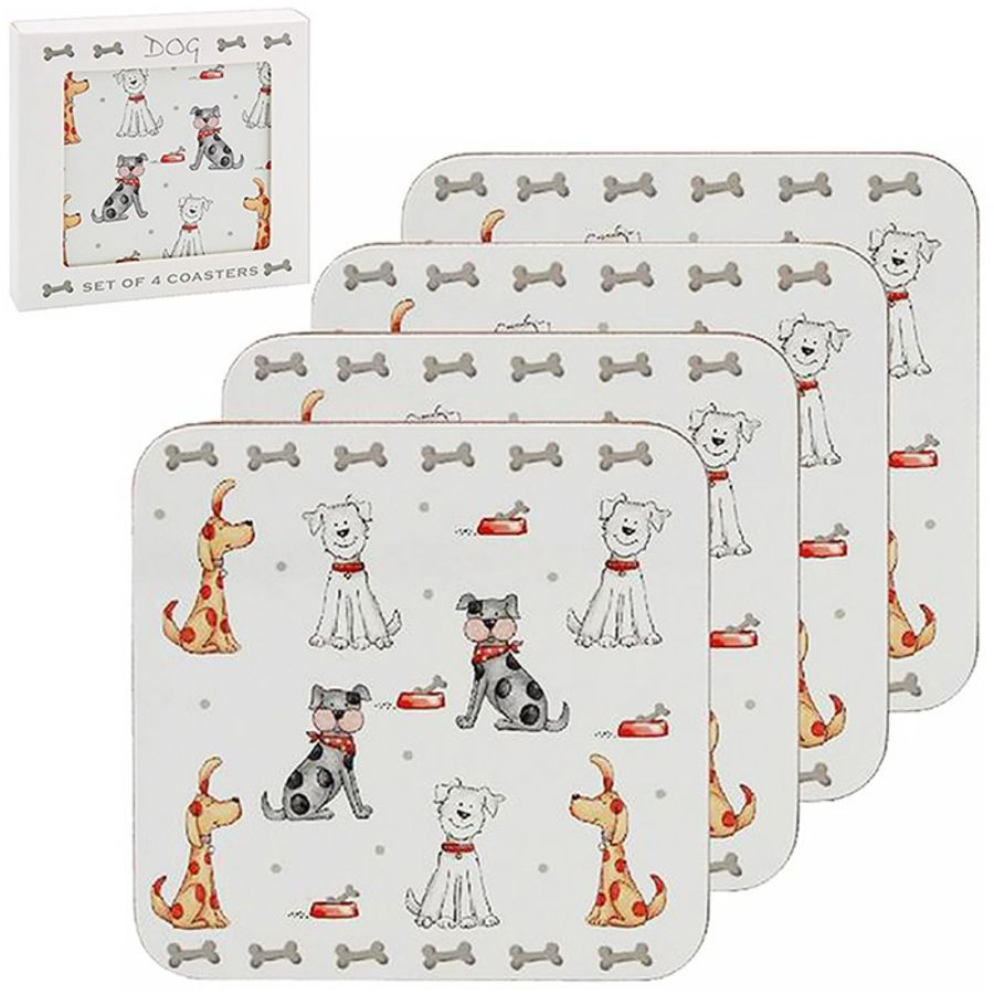 Set of 4 Dog Coasters