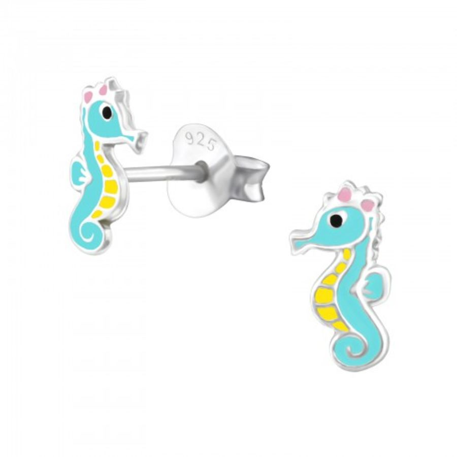 Seahorse - 925 Sterling Silver Stud Earrings