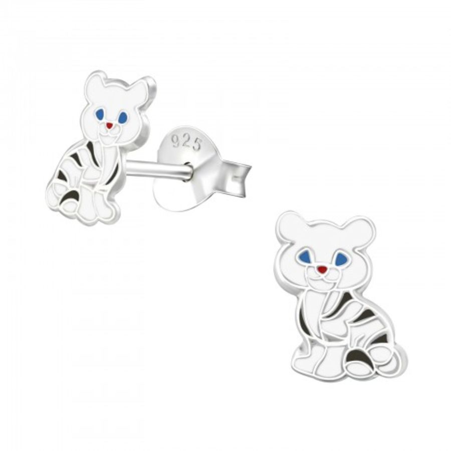 Small 925 Silver Cat Stud Earrings
