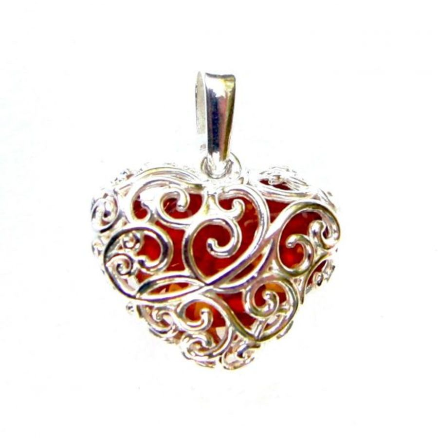 925 Sterling Silver Cage Style Amber Pendant & Chain