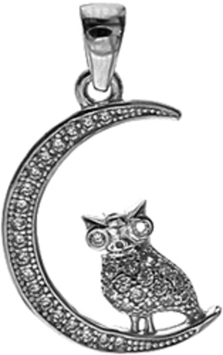925 Sterling Silver & cubic zirconia Owl in Moon Pendant