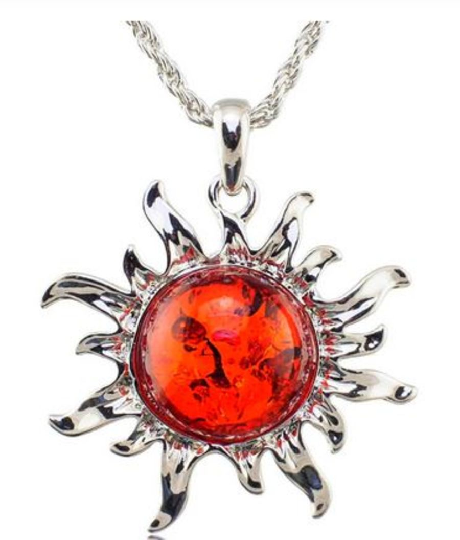 Faux Amber Sun Necklace