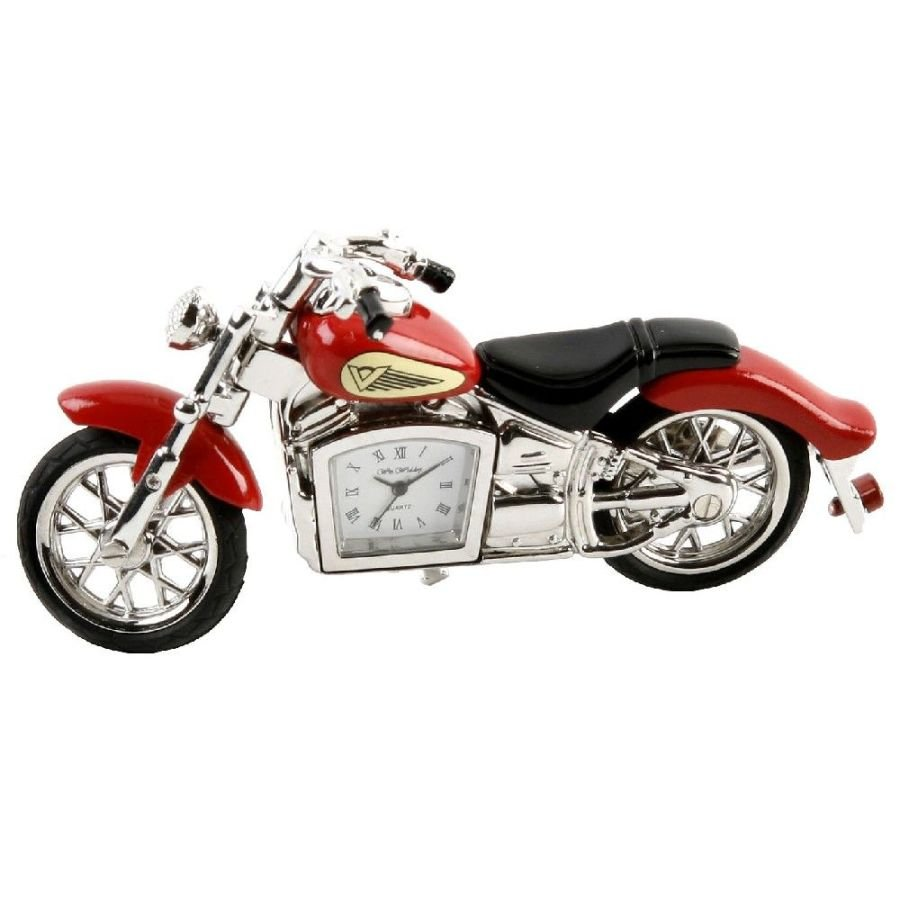Red Classic Motorcycle Miniature Clock