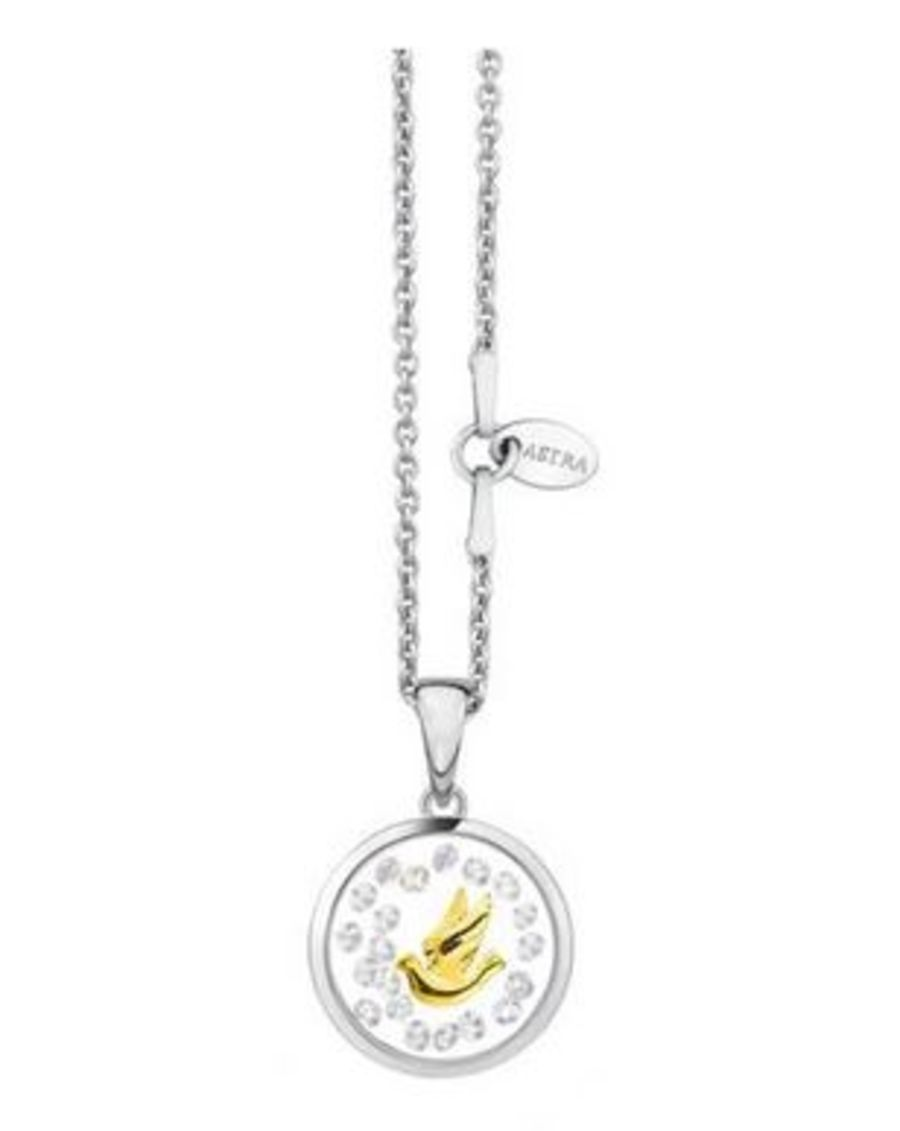 Astra Silver Dove Necklace ( Yellow Gold Plating )