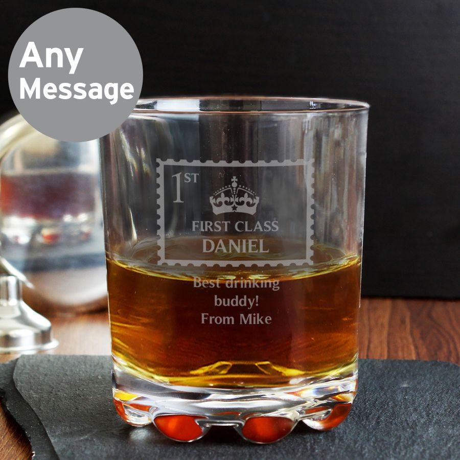 Personalised 1st Class Whiskey Tumbler