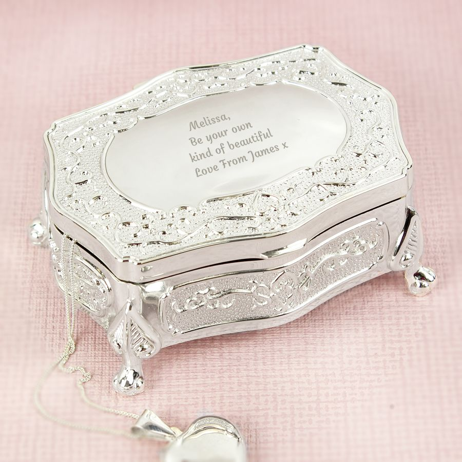 Personalised Any Message Small Antique Style Trinket Box