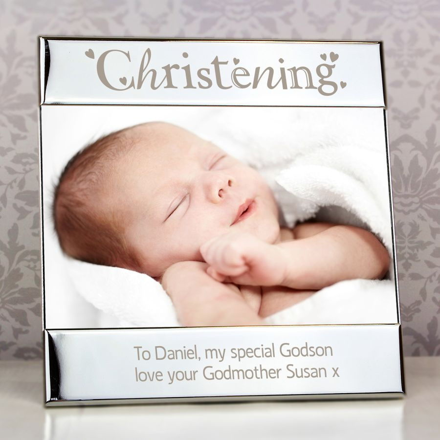 Personalised Silver Christening Square 6x4 Photo Frame