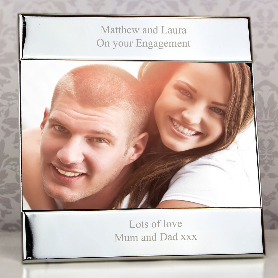 Personalised Silver Square 6x4 Photo Frame (Any Message)