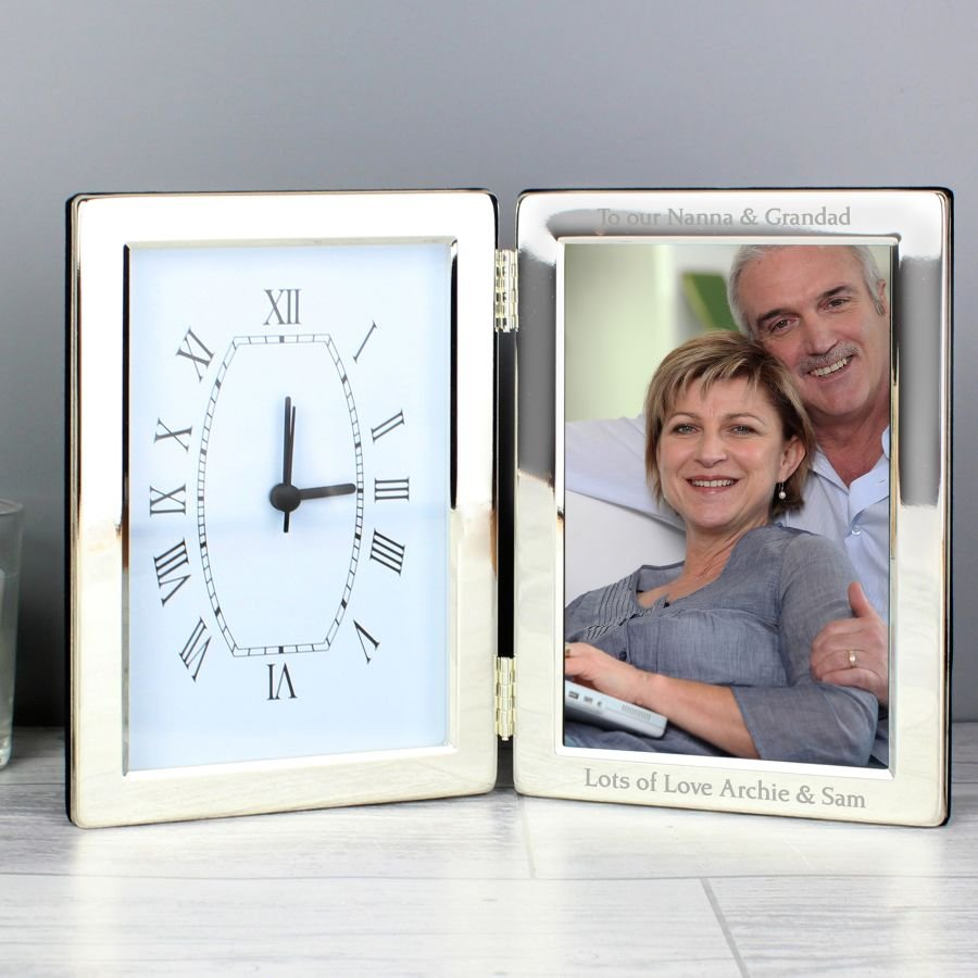 Personalised Silver Clock & Photo Frame