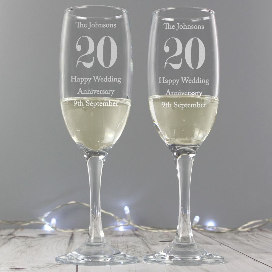 Personalised Anniversary Pair of Flutes with Gift Box