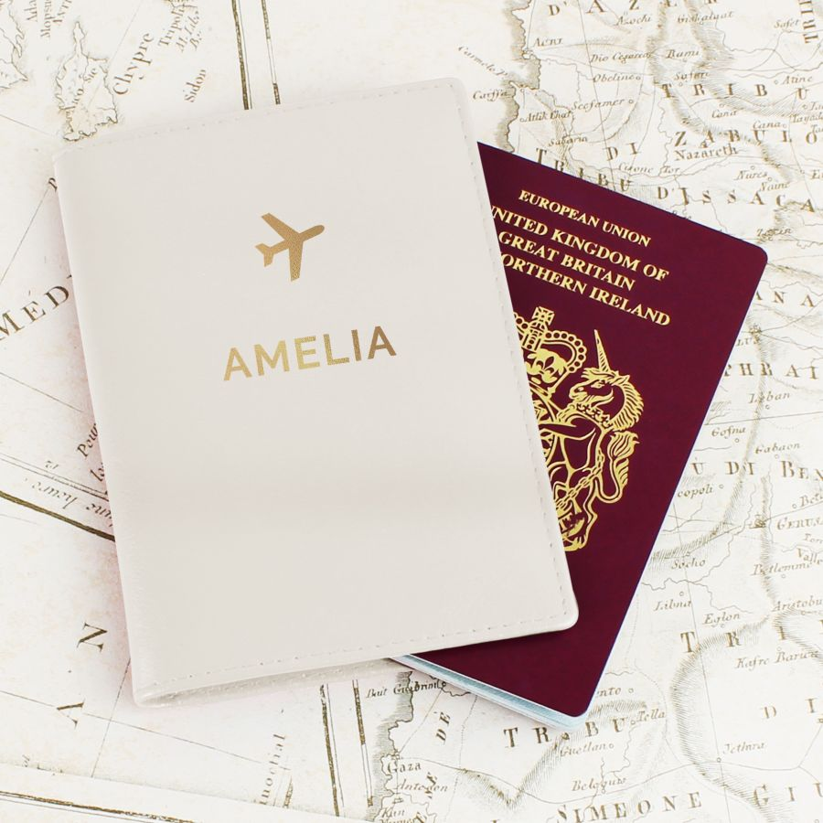 Personalised Gold Name Passport Holder (Cream or Black)