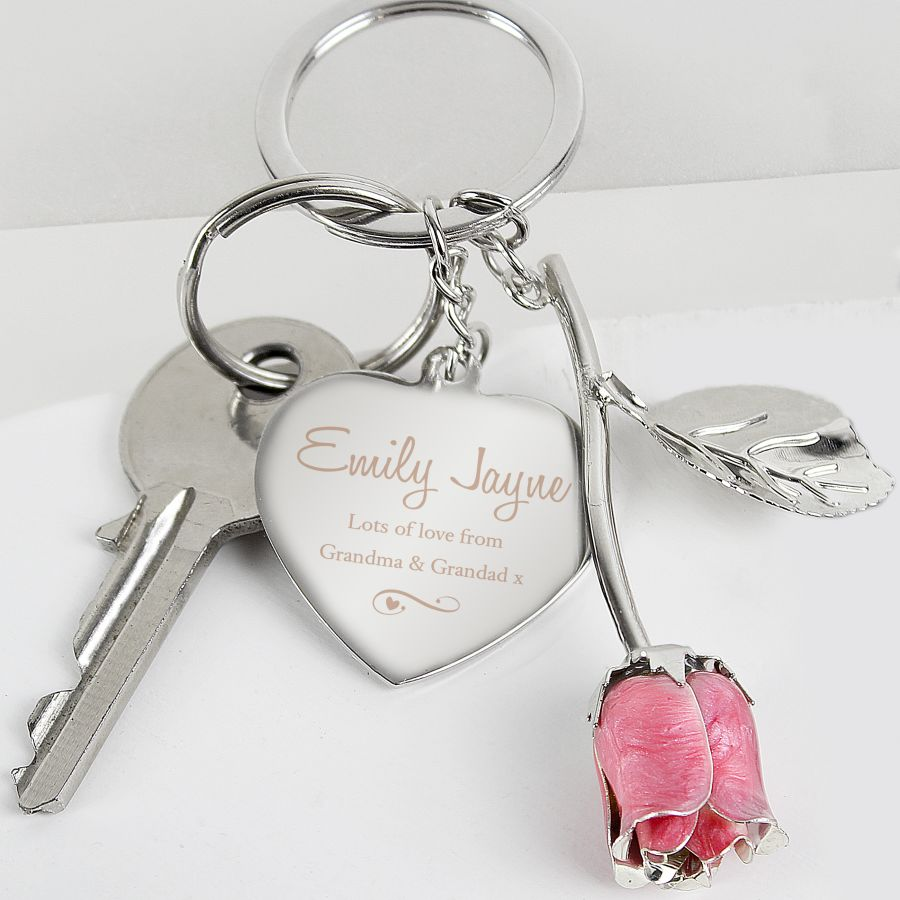 Personalised Silver Plated Heart & Pink Rose Keyring