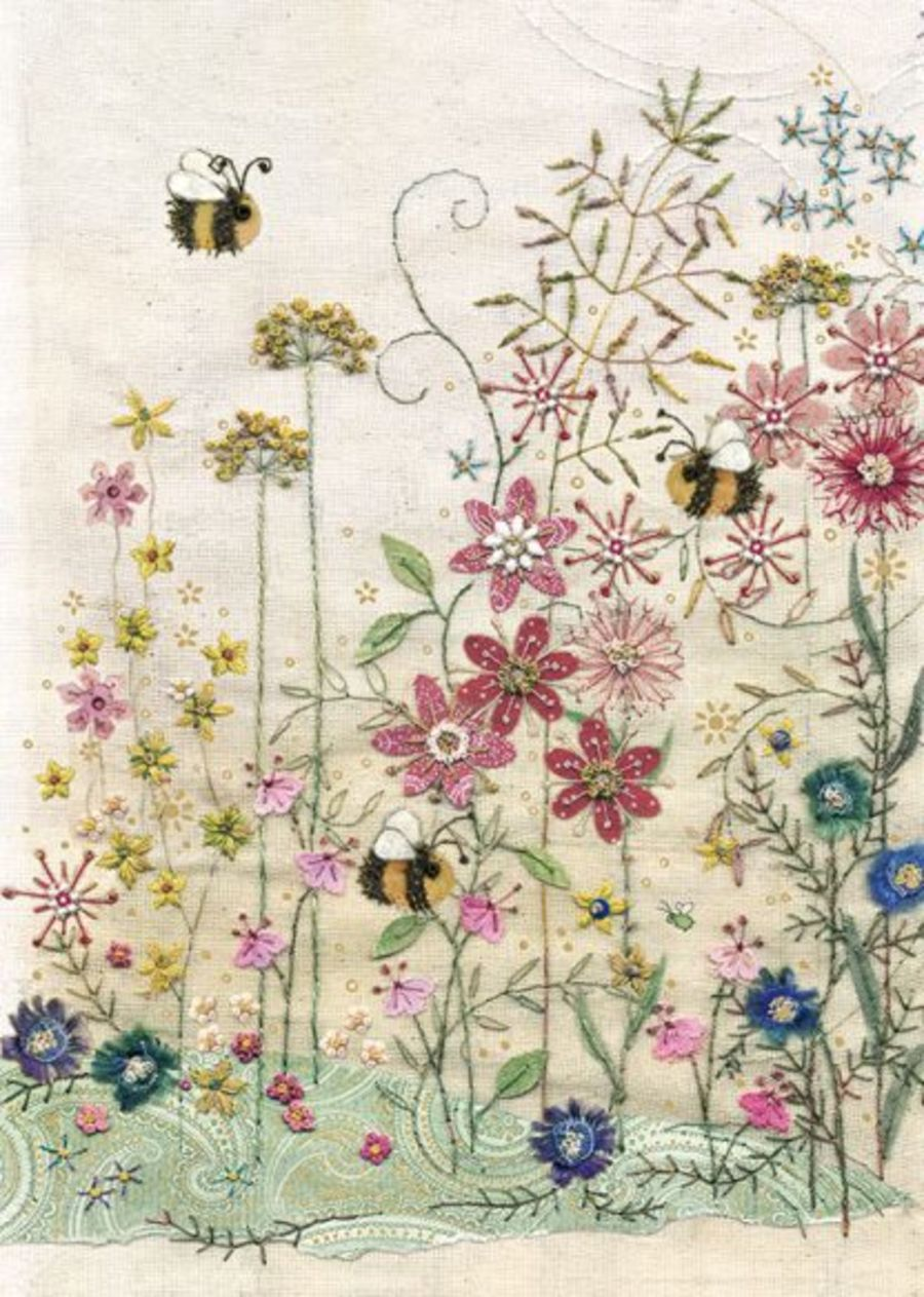 Bees Meadow Card by Bug Art