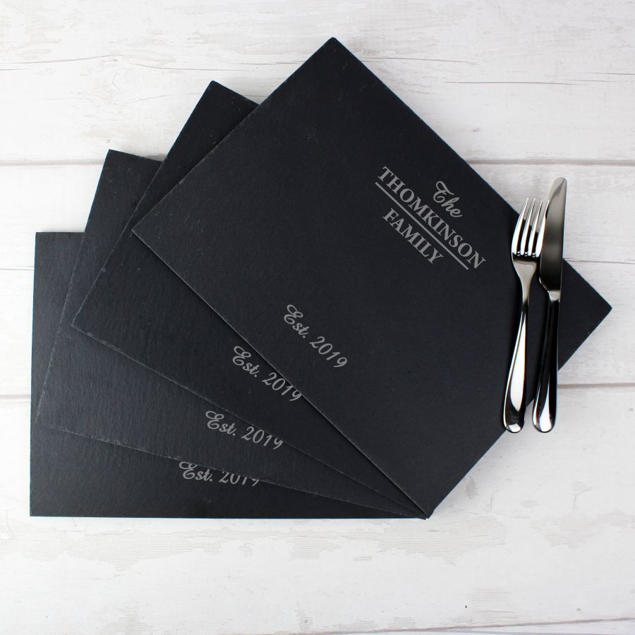 Personalised Family Slate Rectangle Placemat 4 Pack