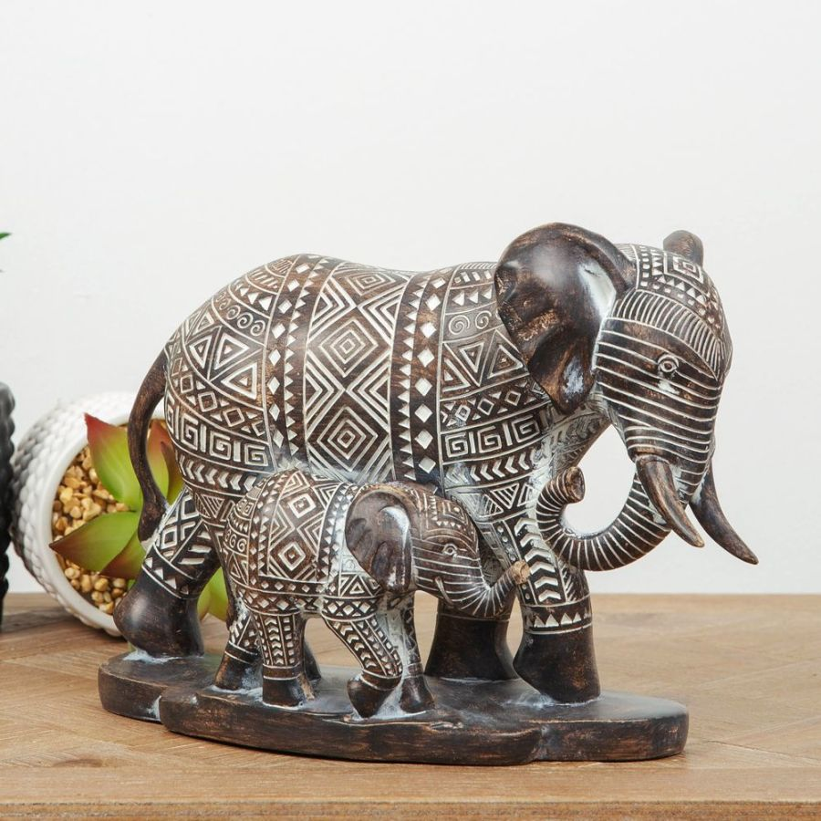 Patterned Ebony Finish Elephant Mother & Baby Ornament