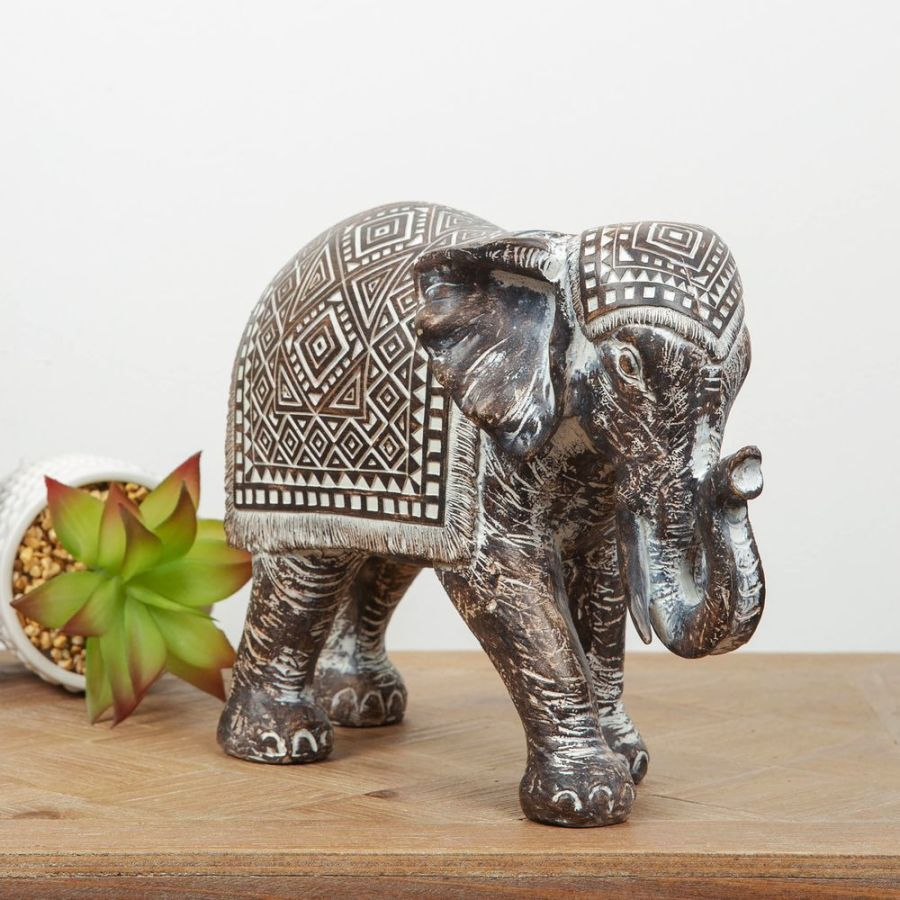 Patterned Ebony Finish Elephant Ornament